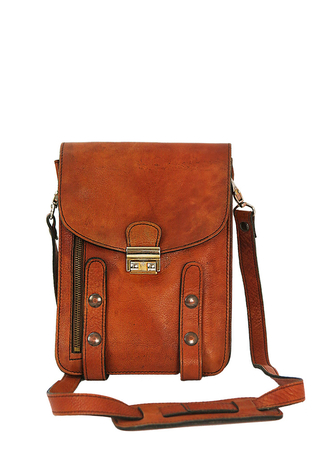 Tan Leather Correspondents Bag with Multi Compartments