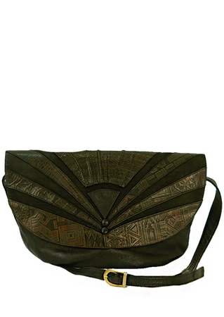 Black Leather Curved Shoulder Bag with Egyptian Style Pattern