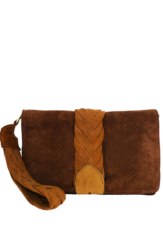 Brown Suede Clutch Bag with Tan Plaited Handle Strap