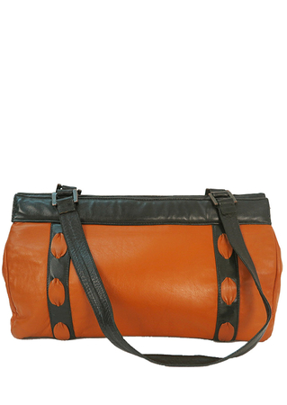 Tan Leather Handbag with Black Edging & Interwoven Detail