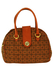 Bowling Handbag with Tan, Ochre & Black Diamond Pattern