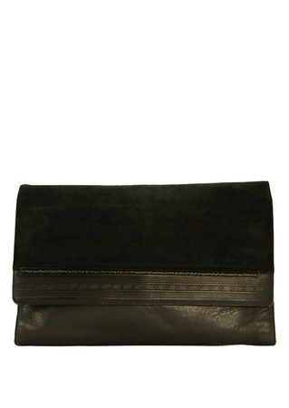 Black Leather Clutch Bag with Suede Flap & Decorative Trim