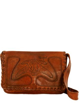 Brown Leather Shoulder Bag with Aztec Pattern & Adjustable Strap