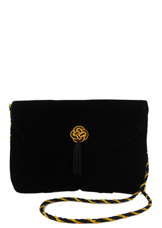 Black Velvet Cross Body Bag with Metallic Gold Embroidered Knot and Black Tassel