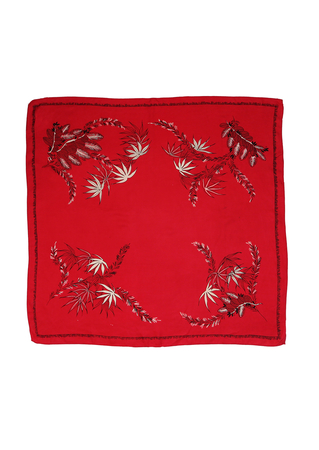 Vintage 1950's Red Square Scarf with Black & White Leaf Pattern - 68 x 68 cm