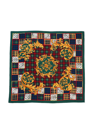 Red, Green & Gold Square Scarf with Tartan, Leopard & Baroque Pattern- 86 cm x 88 cm