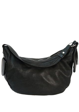 Black Leather Curved Slouch Bag with Zip and Popper Side Pockets