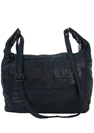 Super Soft Navy Blue Leather Shoulder Bag with Patchwork Design