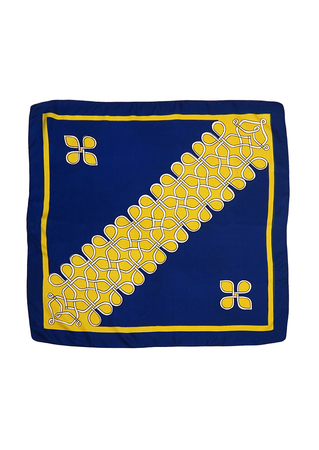 Vintage 60's Large Navy Square Scarf with Yellow & White Abstract Pattern - 83 x 83 cm