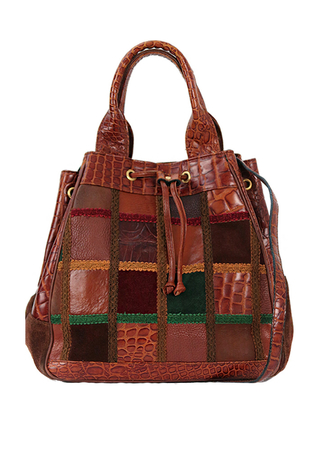 Tan Leather Drawstring Bucket Bag with Patchwork Pattern & Detachable Shoulder Strap