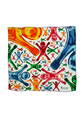 Large Square Scarf with Multi Coloured Giant Jelly Baby Type Shapes! 88 x 87 cm
