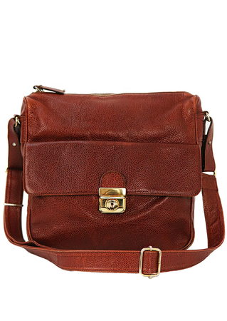 Textured Tan Leather Shoulder Bag with Front Pouch & Adjustable Strap