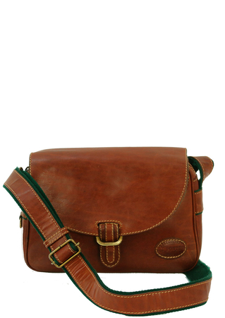 Tan Leather Satchel with Green Edging & Adjustable Strap
