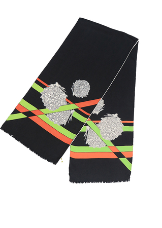 Vintage 60's Black Rectangular Silk Scarf with Orange & Lime Green Graphic Stripes - 140 x 29 cm