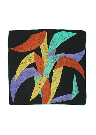 Black Silk Square Scarf with Large Abstract Leaf Shapes in Jade, Lilac, Yellow & Copper - 65 x 68 cm