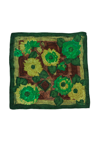 Vintage 60's Floral Patterned Square Scarf in Green, Olive & Brown - 68 x 66 cm