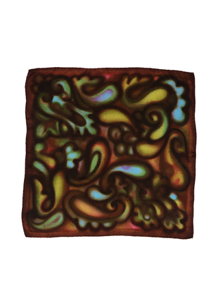 Vintage 60's Brown Square Scarf with Abstract Multi Coloured Paisley Pattern - 66 x 66 cm