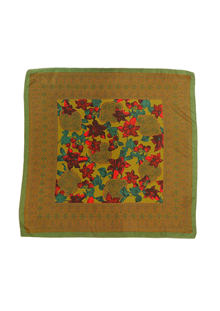 Olive Green Square Scarf with Arts & Crafts Style Flowers & Strawberries Pattern - 76 x 77 cm