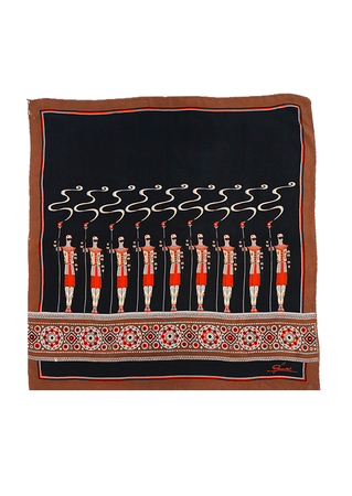 Large Silk Square Scarf in Black, Russet & Grey featuring Egyptian Style Warriors - 81 x 87 cm