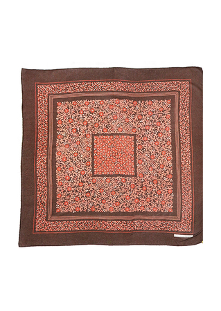 Ditsy Print Floral Square Scarf in Brown, Dusty Pink and Russet - 72 x 75 cm