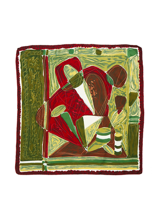 Vintage 60's Abstract Print Silk Square Scarf in Burgundy, Olive Green & Brown - 75 x 77 cm