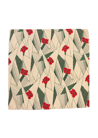 Vintage 70's Square Scarf with Red Floral and Green Geometric Pattern - 60 x 60 cm
