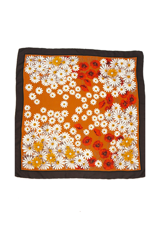 Vintage 70's Ochre Square Scarf with Daisy & Poppy Floral Pattern - 86 x 86 cm