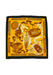 Large Ochre & Brown Silk Scarf with Cantiniere de la Garde / Wine Barrel Theme - 86 x 87 cm