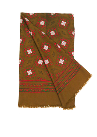 Large Rectangular Scarf in Brown with Rich Pink & Green Paisley Style Detail - 128 x 71 cm