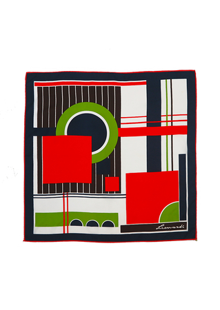 Large Vintage 70's Square Scarf with Red, Green, Brown & Navy Graphic Pattern - 74 x 78 cm
