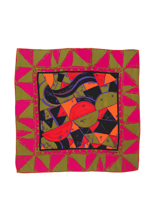 Large Silk Guy Laroche Square Scarf with Multi Colour Graphic Pattern - 83 x 87 cm
