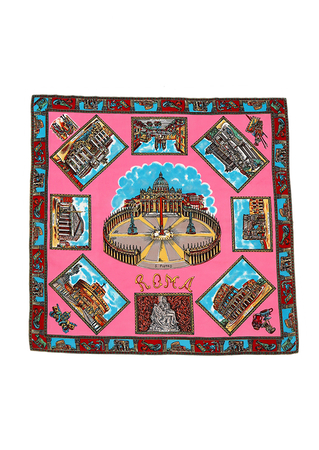Pink & Blue Rome Postcards Themed Tourist Scarf - 68 x 68 cm