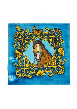 Blue Silk Square Scarf with Horse Image & Decorative Border - 56 x 52 cm