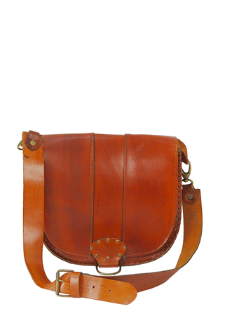 Tan Leather Saddle Bag with Stud & Stitch Detail & Adjustable Strap