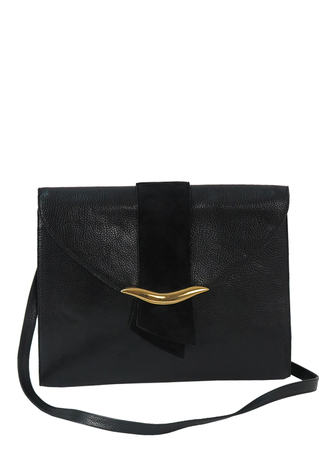 'Genny' Black & Gold Patent Leather Shoulder Bag with Detachable Strap