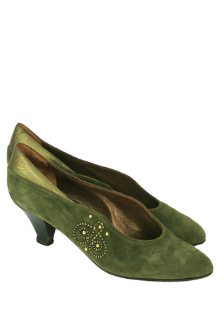 Olive Green Suede Court Shoes with Metallic Leather & Gold Stud Detail - UK Size 5