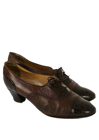 Brogue Style Heeled Lace Up Shoes in Two Tones of Brown - UK Size 6
