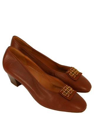 Chestnut Brown Leather Slip on Shoes with Gold & Olive Chequered Detail - UK Size 8