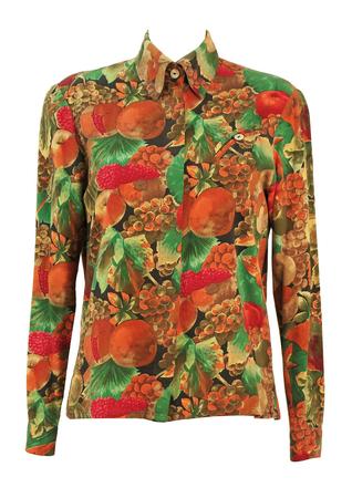 Multi Colour Fruit Print Blouse - M/L