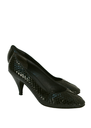 Black Snakeskin High Heel Court Shoes - UK Size 5