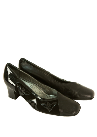 Black Leather & Suede Mid Heel Shoes with Side Applique Design - UK Size 4