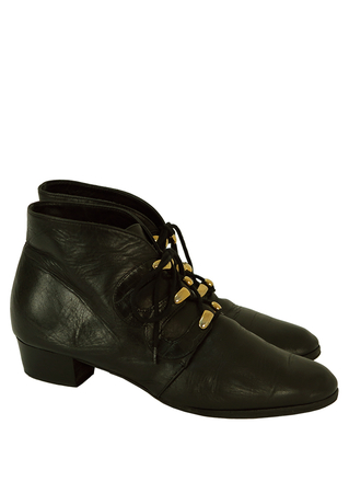 Black Leather Low Heel Ankle Boots with Gold Metal Lace Loops - UK Size 6