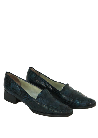 Snakeskin Loafers in Two Tone Blue - UK Size 5