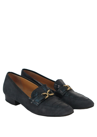 Blue Suede Loafers with Navy Snakeskin and Gold Buckle Detail - UK Size 4.5