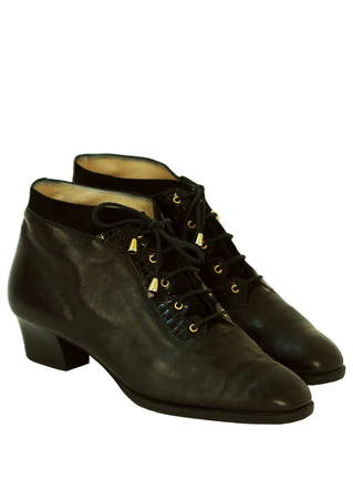 Black Leather & Suede Lace Up Ankle Boots with Gold Eyelets - UK Size 6