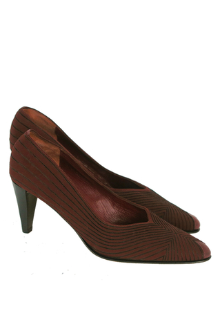 Burgundy & Black High Heel Court Shoes with Striped Graphic Pattern  - UK 3.5