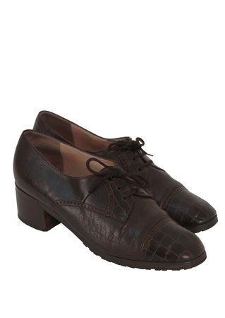 Brogue Style Dark Brown Leather Heeled Lace Up Shoes – UK Size 6