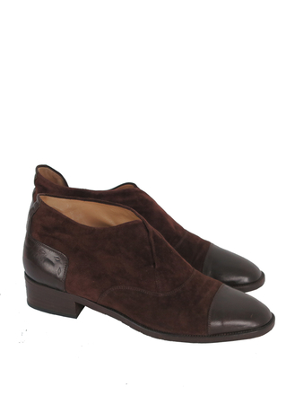 Chestnut Brown Suede & Leather Slip on Ankle Boots - UK Size 4.5