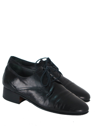 Black Leather Lace-Up Derby Shoes - UK Size 6
