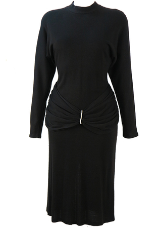 80's Black Batwing Jersey Midi Dress with Gathered Sash Waist & Pearls - M
